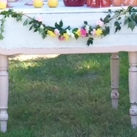Pink and White Farm Table
