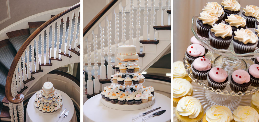 Spiral Staircase With Triple Tier Cupcake And Cake Decoration